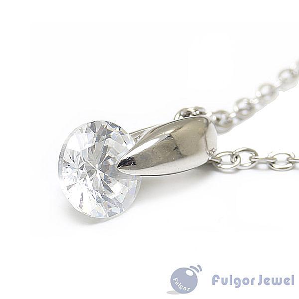 FU飾品 鋼飾 項鍊 流行飾品 簡約設計晶亮鋯石西德鋼項鍊【Fulgor Jewel】