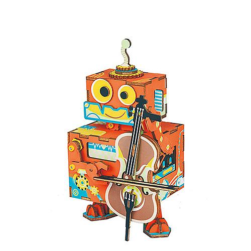 《 Robotime  》3D木製拼圖 - AMD53音樂盒系列小提琴家╭★ JOYBUS玩具百貨