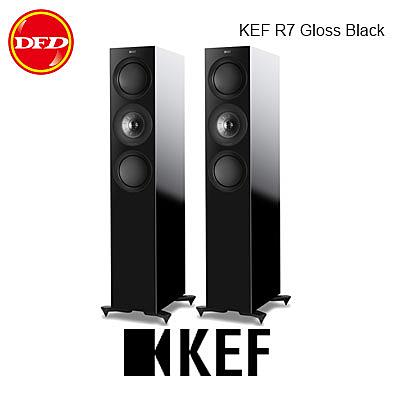 英國 KEF R7 Gloss Black 中型三路分音座地揚聲器 Uni-Q 同軸共點單元 鋼琴黑 台灣公司貨