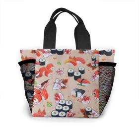 トートバッグ ランチバッグ お弁当バッグ 手提げバッグ おいしい 寿司 食品収納 大容量 軽量 メッシュポケット付き ファミリー 日常用