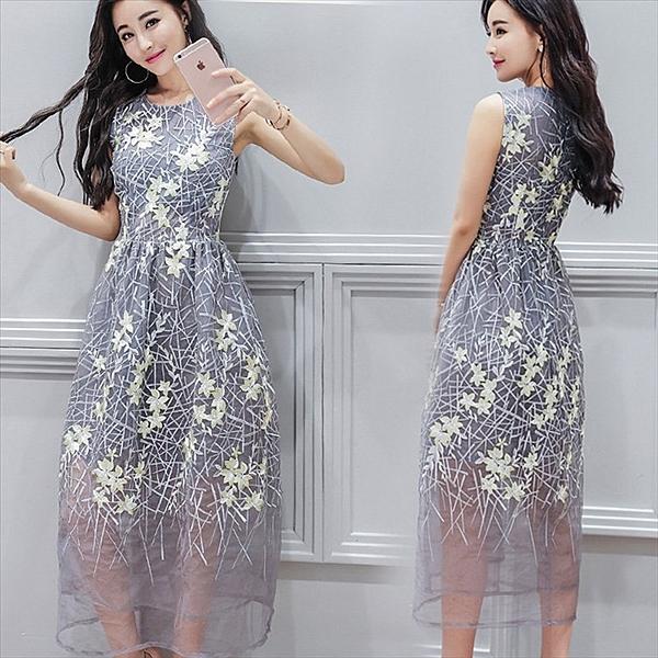 找到自己 G5 韓國時尚 無袖 中長款 蓬蓬裙 網紗裙 刺繡 蕾絲 連身裙