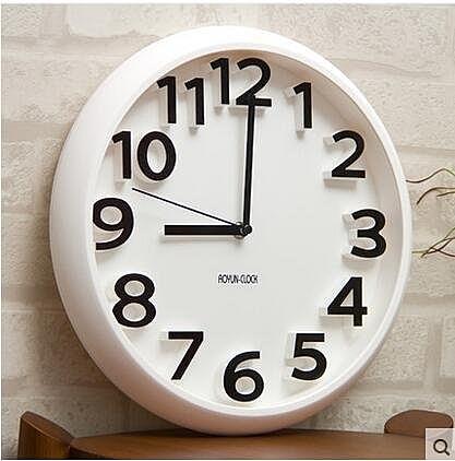 siton時尚創意靜音掛鐘現代簡約時鐘個性數字鐘錶藝術客廳石英鐘(掛鐘圓形白色)