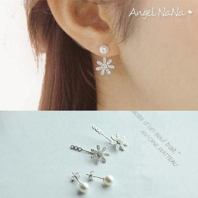 925純銀耳環。AngelNaNa  韓後掛式珍珠貝珠水鑽小花2way耳釘耳針耳飾銀飾 (SRA0501)
