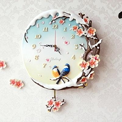 創意時鐘-立體梅花樹脂中國風情藝術壁鐘72z34【時尚巴黎】