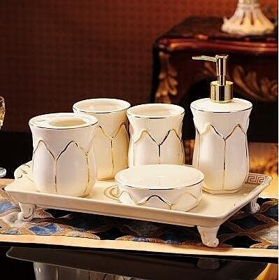 衛浴五件套衛生間歐式陶瓷浴室洗漱套裝【衛浴五件套帶禮盒加托盤】