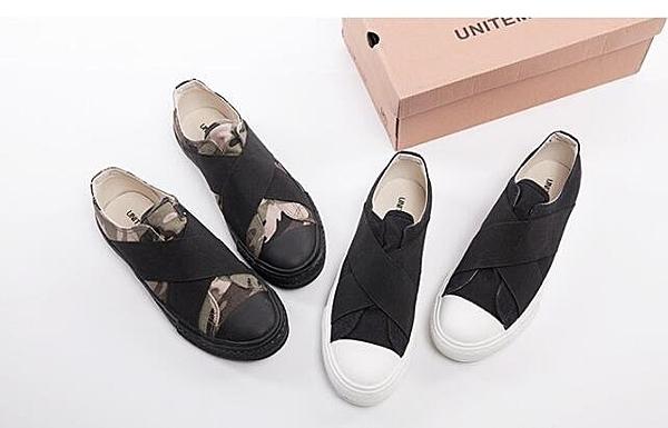 找到自己 MD 韓國 時尚休閒 潮 男 交叉設計 一腳蹬 懶人鞋 流行帆布鞋 圓頭鞋 平底鞋
