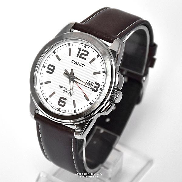 CASIO手錶沉穩深咖皮革錶NEC147