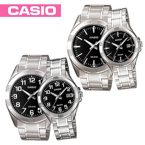 CASIO卡西歐 手錶專賣店 MTP-1308D+LTP-1308D 簡約對錶 大錶面 礦物防刮玻璃 防水50米 三折式不鏽鋼錶帶