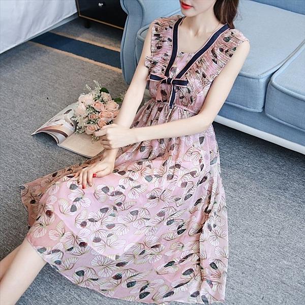 找到自己 G5 韓國時尚 無袖 V領 碎花 收腰 顯瘦 中長款 沙灘裙 連身裙