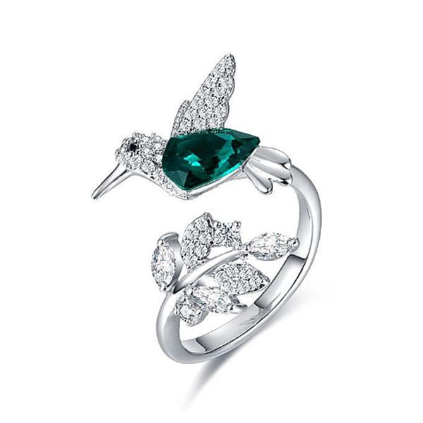 【RJNEWYORK】璀璨耀眼展翅高飛相思鳥水晶戒指(白金綠)