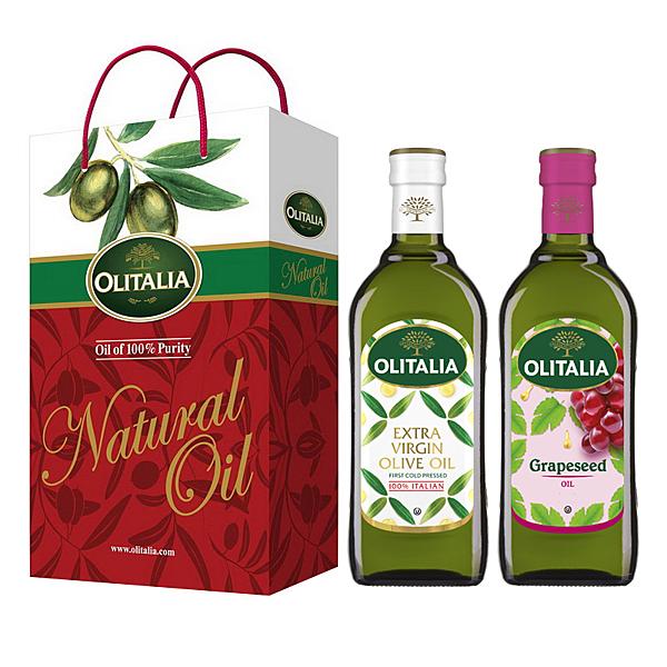 【Olitalia奧利塔】特級冷壓橄欖油+葡萄籽油禮盒組(500ml各1)