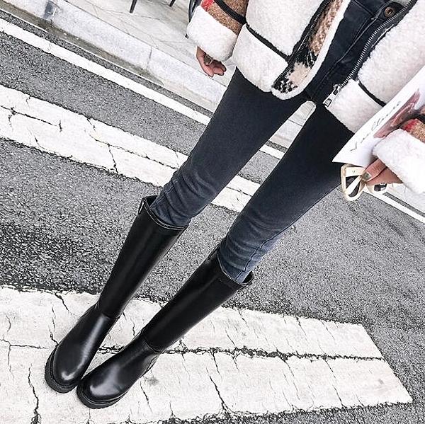 長靴冬季女新款韓版英倫帥氣平底顯瘦皮靴高筒長筒靴騎士靴 萬客居