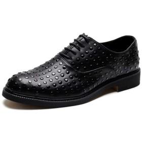 [Jusheng-shoes] メンズシューズ 男性ファッションドレスシューズのためのオックスフォードは、マイクロファイバーレザーラバーソールラウンドトゥ滑り止めリベットスタッズブロックヒールレースアップ カジュアルシューズ (Color : ブラック, サイズ : 24 CM)