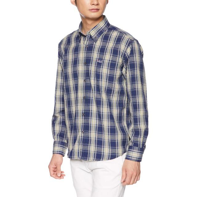 [フィラ] FILA フィラ Men's リップル チェックBDシャツ FH7482 シャツ メンズ ネイビー 日本 M (日本サイズM相当)