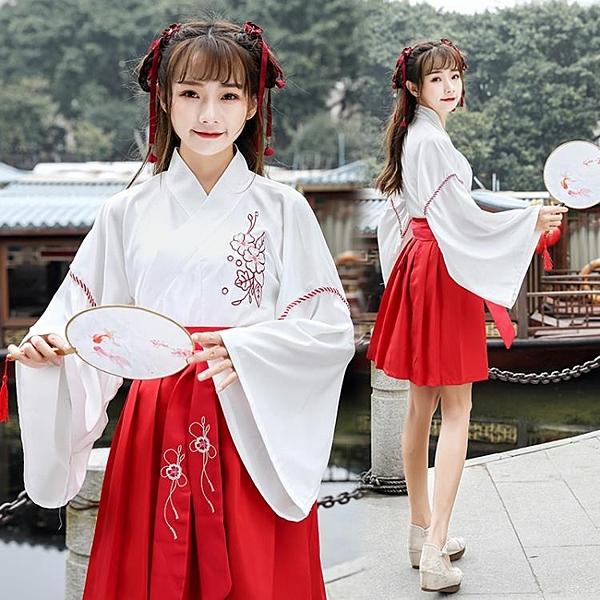 名族風 改良漢服女中國風古裝套裝漢元素日常民族服飾高中民國學生夏裝女