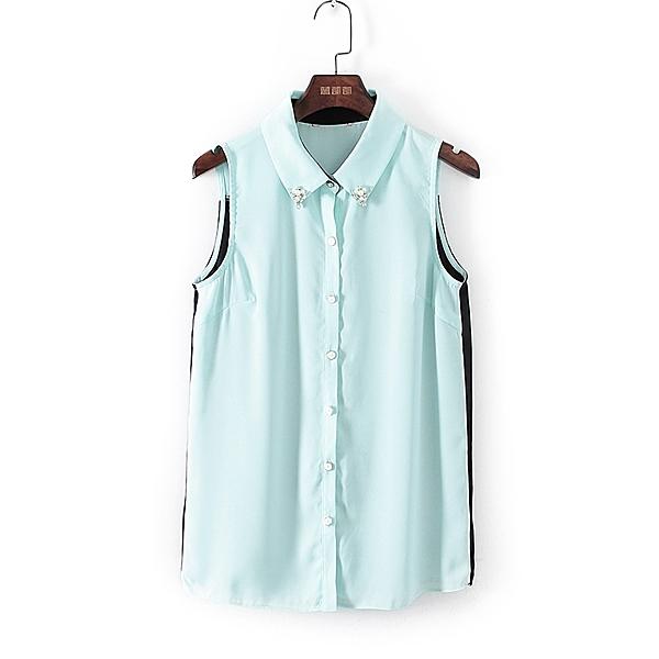 [超豐國際]谷夏裝女裝薄荷綠拼接小清新雪紡衫 43321(1入)