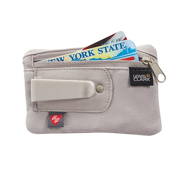 【LEWIS N CLARK美國人氣旅遊配件】RFID防盜錄夾扣式卡夾藏錢包-卡其