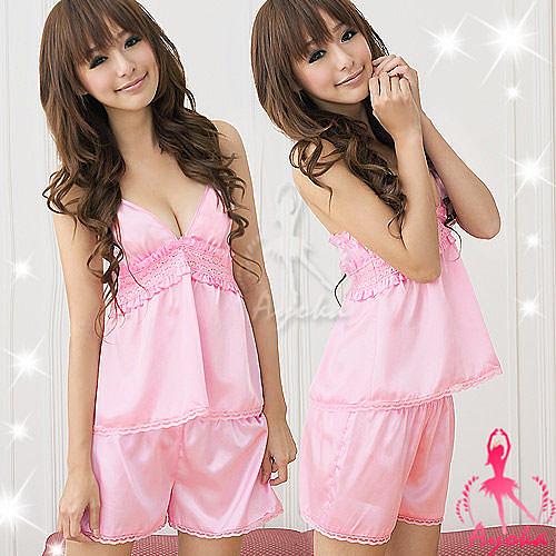 【伊莉婷】甜蜜陣線!粉紅緞面二件式睡襯衣