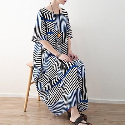 洋裝-長款寬版時尚新款不對稱條紋女連身裙73sm32[巴黎精品]
