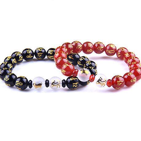 開光16顆15紅瑪瑙磨砂鍍金鴻運珠法令手鏈