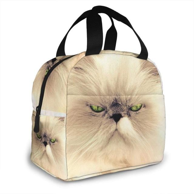 保冷バッグ 白猫 緑の眼 怖い顔 手提げ