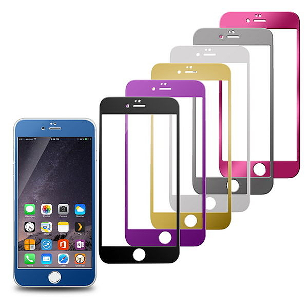 GL01全彩鏡面電鍍 iphone6 plus(5.5吋)鋼化玻璃保護貼(前面貼)