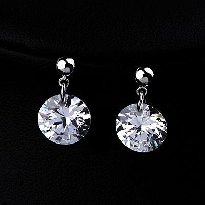 耳環 玫瑰金 925純銀水晶-簡約氣質生日情人節禮物女飾品2色73gs18【時尚巴黎】