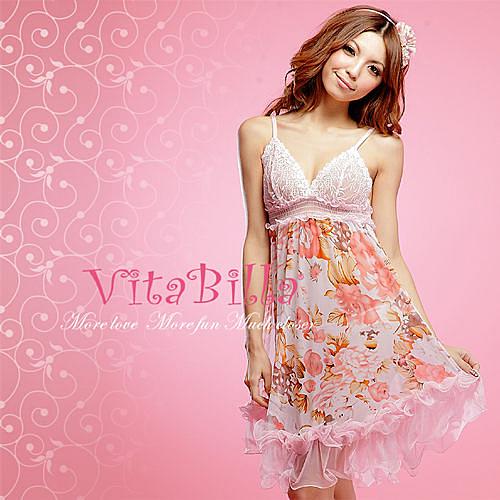 【伊莉婷】VitaBilla 甜蜜伊人 LUCKMATE 今生最愛 睡裙+小褲 二件組