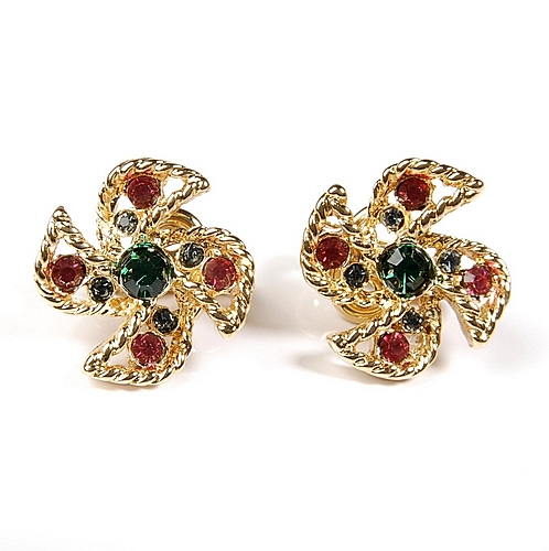 D'ORLAN 彩色水晶扇形夾式耳環(金色)990102