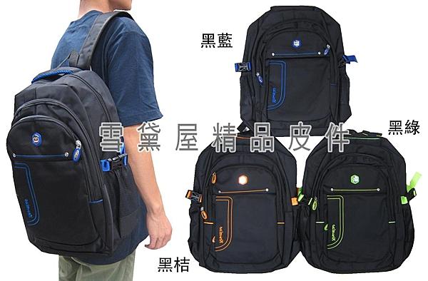 ~雪黛屋~XINWEIAO 後背包大容量可A4資夾電腦主袋+外外共四層水瓶網袋防水尼龍布BOPQ400120480