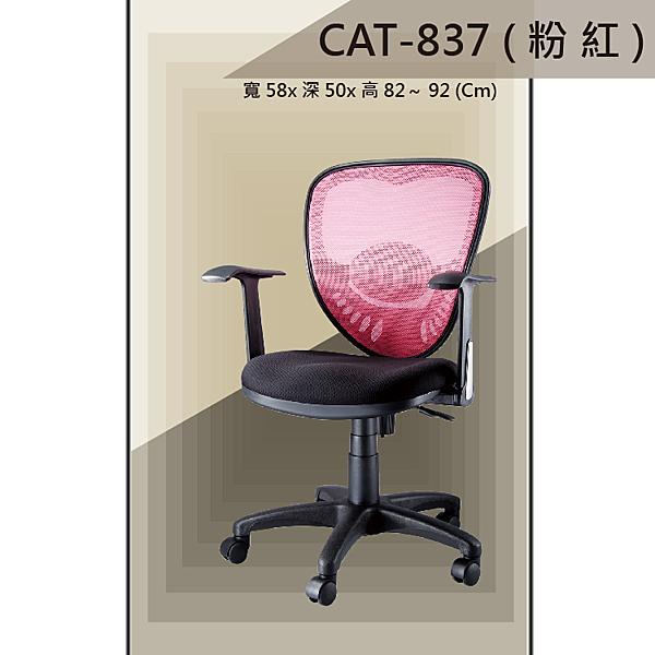 【辦公椅系列】CAT-837 粉紅色 舒適辦公椅 氣壓型 職員椅 電腦椅系列