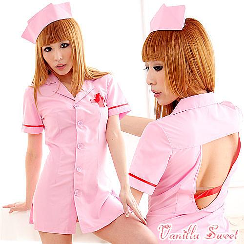 粉紅色護士服cosplay角色扮演‧縱愛保健室-甜蜜俏護士 角色扮演 萬聖節 - 香草甜心