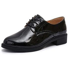 [ヤク] レディース レースアップシューズ おじ靴 革靴 ダンスシューズ プラットフォーム 仕事 25.0cm 走れる ローファー マニッシュ 紐靴 ブラック オックスフォードシューズ カジュアルシューズ 大きいサイズ
