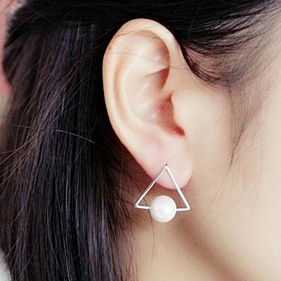 925純銀耳環珍珠(耳針式)-生日情人節禮物三角形時尚女飾品73ag63【巴黎精品】