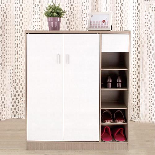 雙門木製鞋櫃 台灣製 附抽屜鞋櫃 日系質感花語鞋架鞋櫃《YV8642》快樂生活網
