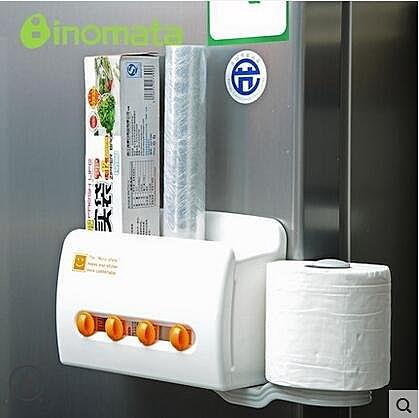 日本進口廚房用紙巾架 吸盤磁鐵冰箱側收納架 保鮮膜收納盒置物架