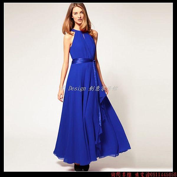 (45 Design) 訂做款式7天到貨  掛脖結婚新娘敬酒服多色時尚主持人禮服女長款晚禮服演出