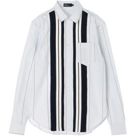 【6,000円(税込)以上のお買物で全国送料無料。】ニット切り替えストライプシャツ