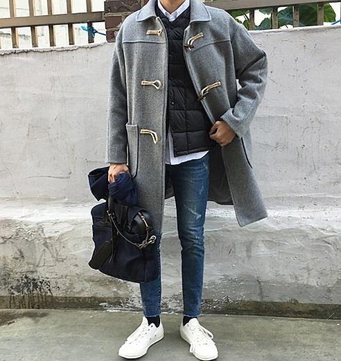 【找到自己】 韓國 長版大衣 牛角扣 大衣 毛尼 呢料大衣 西裝 長板    KOREA