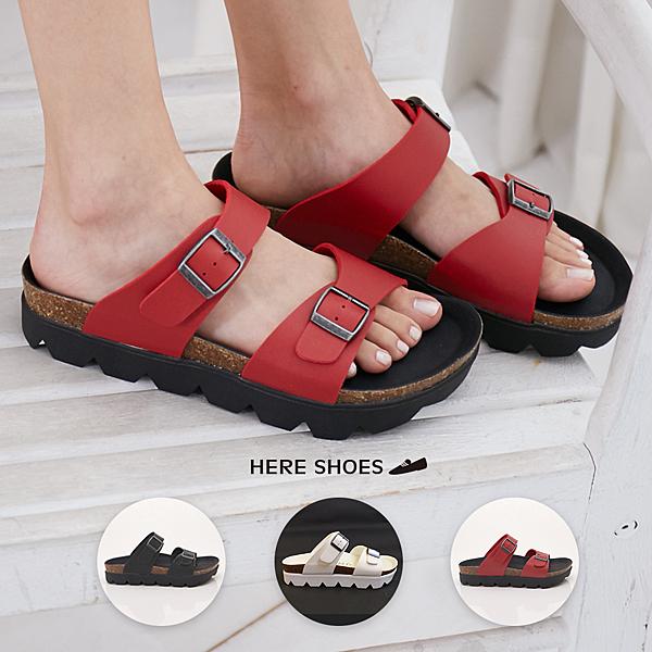 [Here Shoes]涼拖鞋-MIT台灣製美式休閒4CM厚底一字拖鞋─AA6807
