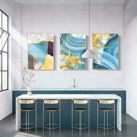 Rjj リビングルームの家の装飾画キャンバス素材抽象絵画トリプルリビングルームのソファーの背景壁の廊下のポーチ壁画装飾画ブルーサイズ40×60 cm 絶妙