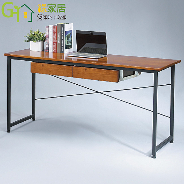 【綠家居】薛曼 簡約風5尺實木書桌/電腦桌
