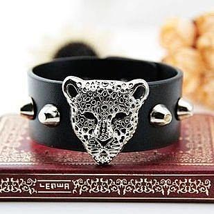 個性時尚 銀色豹子頭PU皮質手鏈