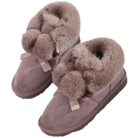 [サニーサニー] レディース ブーティー ムートン ファーボンボン 可愛い ボア付き 防寒 歩きやすい フラットシューズ 防滑 暖かい 通勤 通学 オシャレ 冬用ブーツ 雪靴 もこもこ 柔らかい スノーブーツ キャメル