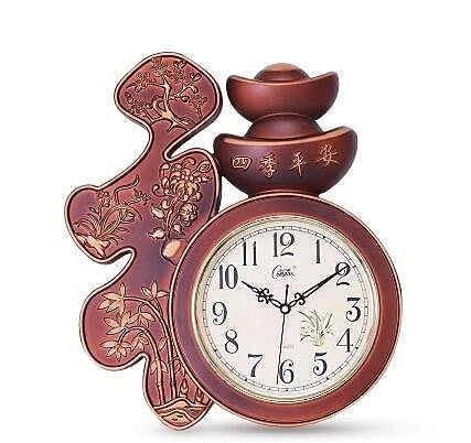 【酒紅金紋】康巴絲靜音掛鐘中式福字時鐘壁鍾石英鐘錶