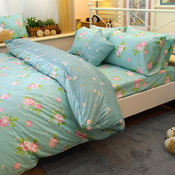 單人床包+兩用被3件組-【夢遊花綠】100%精梳純棉 #大鐘印染 #台灣製造