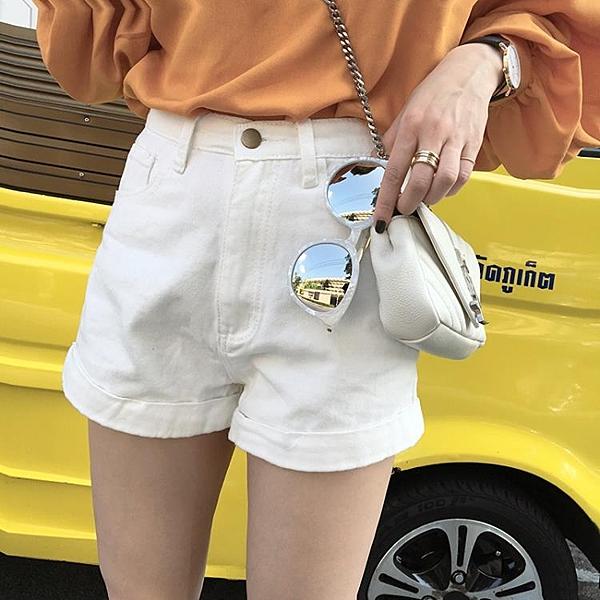 [超豐國際]初夏百搭高腰卷邊牛仔褲女闊腿短褲寬松顯瘦學生大碼1入