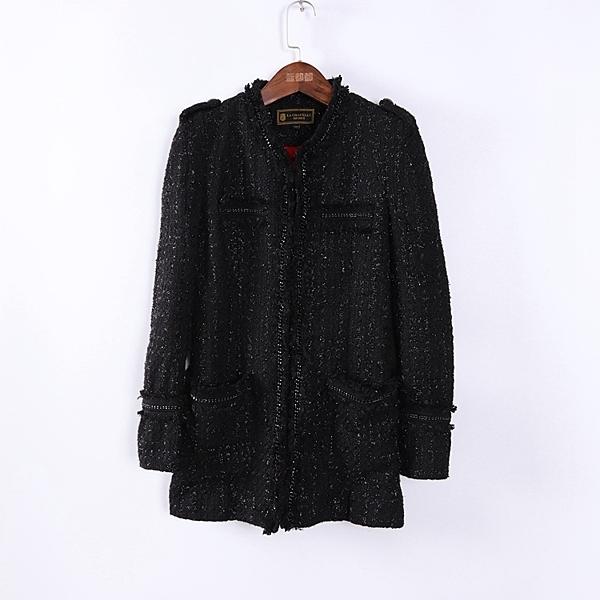 [超豐國際]拉春夏裝女裝黑色寬松百搭中長款外套 散87343(1入)