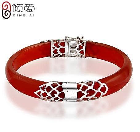 銀癡情網手鐲 女紅瑪瑙手鏈送媽媽中老年禮物