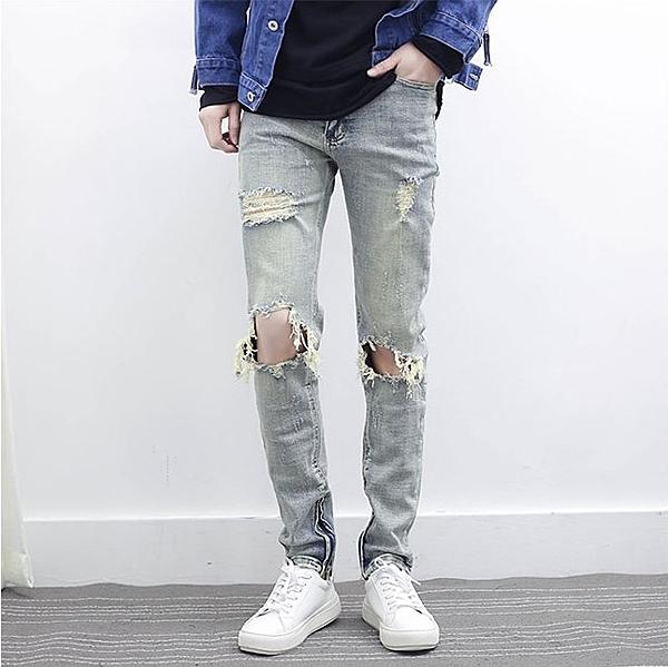 找到自己品牌 2017新款 男生 歐美潮流大牌同款 拉鏈設計破洞牛仔褲小腳褲
